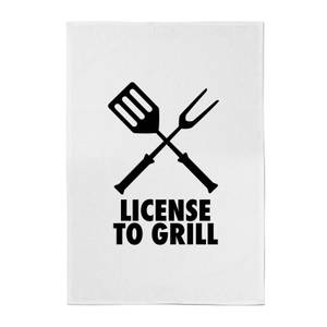 License To Grill Cotton Tea Towel