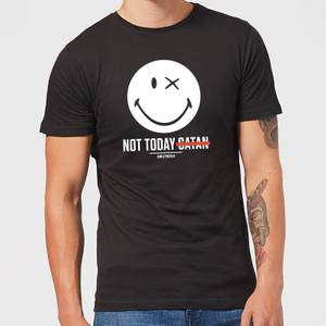 Smiley World Slogan Not Today Satan Men's T-Shirt - Black