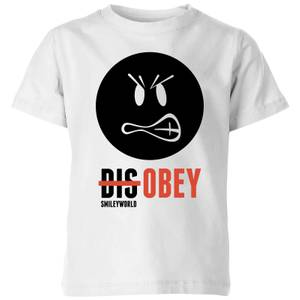 Smiley World Slogan Disobey Kids' T-Shirt - White