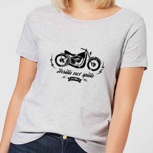 Smiley Thrills Not Spills Women's T-Shirt - Grey