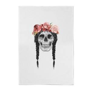 Balazs Solti Skull and Flowers Cotton Tea Towel