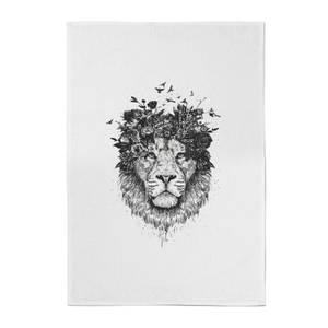Balazs Solti Lion and Flowers Cotton Tea Towel