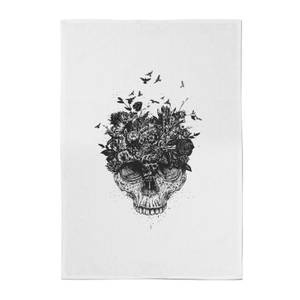Balazs Solti Skulls and Flowers Cotton Tea Towel