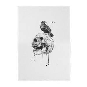 Balazs Solti Skull and Crow Cotton Tea Towel