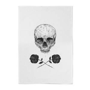 Balazs Solti Skull and Roses Cotton Tea Towel