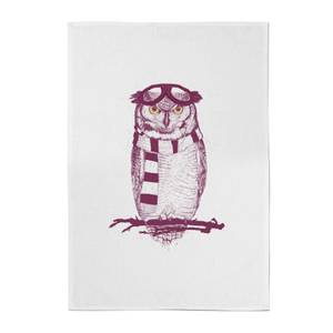 Balazs Solti Winter Owl Cotton Tea Towel