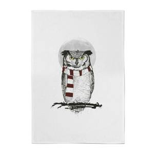 Balazs Solti Owl and Moon Cotton Tea Towel