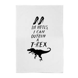 Rock On Ruby In Heels I Can Outrun A T-Rex Cotton Tea Towel