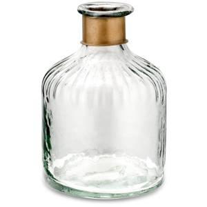 Nkuku Chara Hammered Bottle - Clear Glass & Antique Brass - 15cm