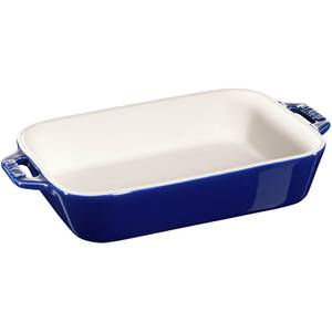 Staub Ceramic Rectangular Gratin Dish - 20cm x 16cm Dark Blue