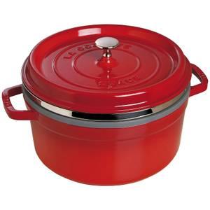 Staub Round Cocotte and Steamer - Cherry - 26cm