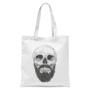 Balazs Solti Bearded Skull Tote Bag - White