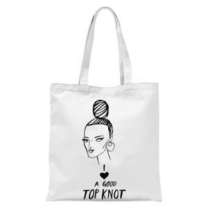 Rock On Ruby I Love A Good Top Knot Tote Bag - White