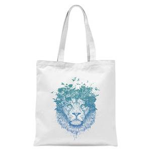 Balazs Solti Lion and Butterflies Tote Bag - White