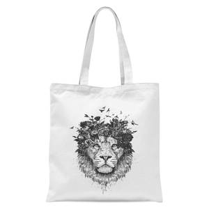 Balazs Solti Lion and Flowers Tote Bag - White