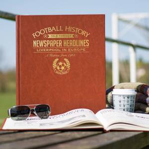 Liverpool in Europe Newspaper Book - Brown Leatherette