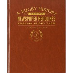 History of English Rugby Newspaper Book - Brown Leatherette
