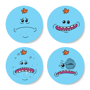 Set de Posavasos Rick y Morty Mr Meeseeks Face