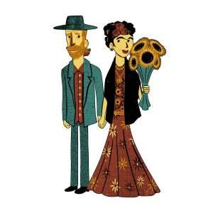 Tobias Fonseca Love Is Art - Frida Kahlo and Van Gogh Sweatshirt - White