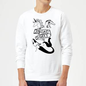 Rock On Ruby Mermaid, Unicorn and Dinosaur Squad Goals Sweatshirt - White