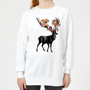 Tobias Fonseca Spring Itself Deer Floral Women's Sweatshirt - White