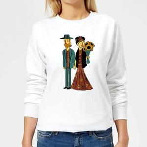 Tobias Fonseca Love Is Art - Frida Kahlo and Van Gogh Women's Sweatshirt - White