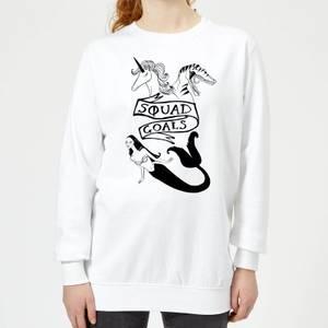 Rock On Ruby Mermaid, Unicorn and Dinosaur Squad Goals Women's Sweatshirt - White
