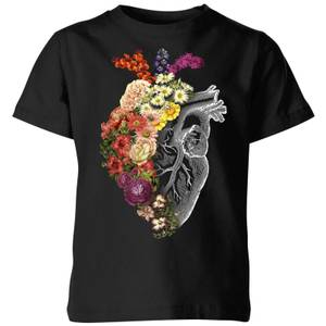 Tobias Fonseca Flower Heart Spring Kids' T-Shirt - Black
