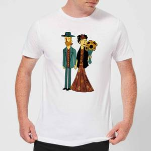 Tobias Fonseca Love Is Art - Frida Kahlo and Van Gogh Men's T-Shirt - White