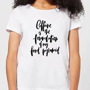 Caffeine Is The Foundation Of My Food Pyramid Women's T-Shirt - White