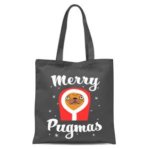 Merry Pugmas Tote Bag - Grey