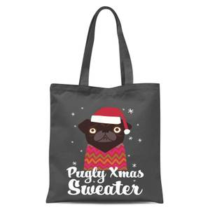 Pugly Xmas Sweater Tote Bag - Grey