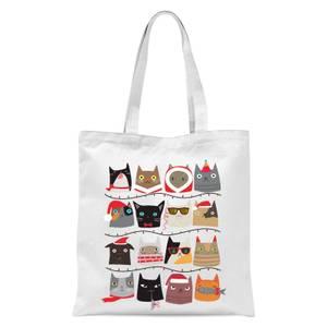 Christmas Cats Tote Bag - White