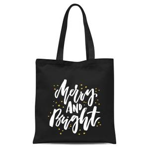 Merry and Bright Tote Bag - Black
