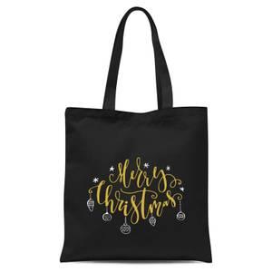 Merry Christmas Tote Bag - Black