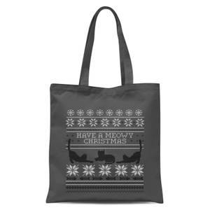 Meowy Christmas Tote Bag - Grey