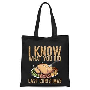 I Know What You Did Last Christmas Tote Bag - Black