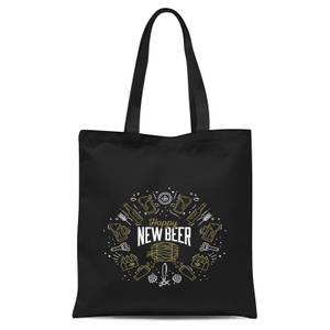 Hoppy New Beer Tote Bag - Black
