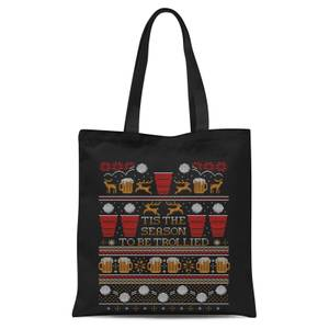 Tis The Season To Be Trollied Tote Bag - Black