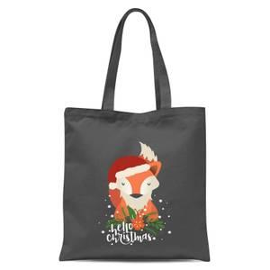 Christmas Fox Hello Christmas Tote Bag - Grey