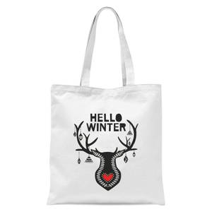 Hello Winter Tote Bag - White