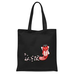 Flower Fox Tote Bag - Black