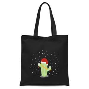 Cactus Santa Hat Tote Bag - Black