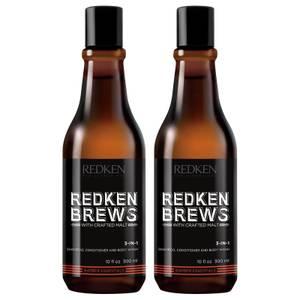 Redken Brews Men's 3 in 1 Shampoo Duo szampon 3 w 1 dla mężczyzn 2 szt.