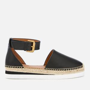 See By Chloé Women's Glyn Leather Espadrille Flat Sandals - Black