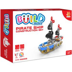 Build & Play Kids Pirate Ship Construction Set Toy