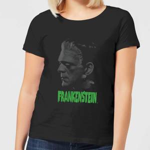 Universal Monsters Frankenstein Greyscale Women's T-Shirt - Black