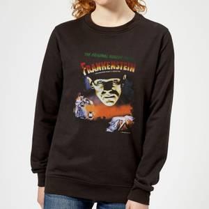 Universal Monsters Frankenstein Vintage Poster Women's Sweatshirt - Black