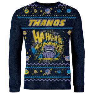 Maglione Natalizio Avengers Thanos - Blu Navy - Esclusiva Zavvi