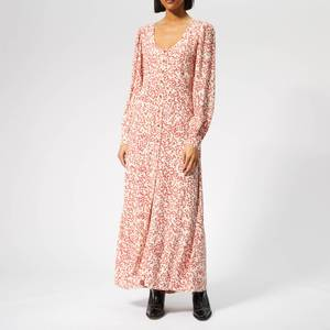Ganni Women's Goldstone Crepe Buttoned Dress - Egret